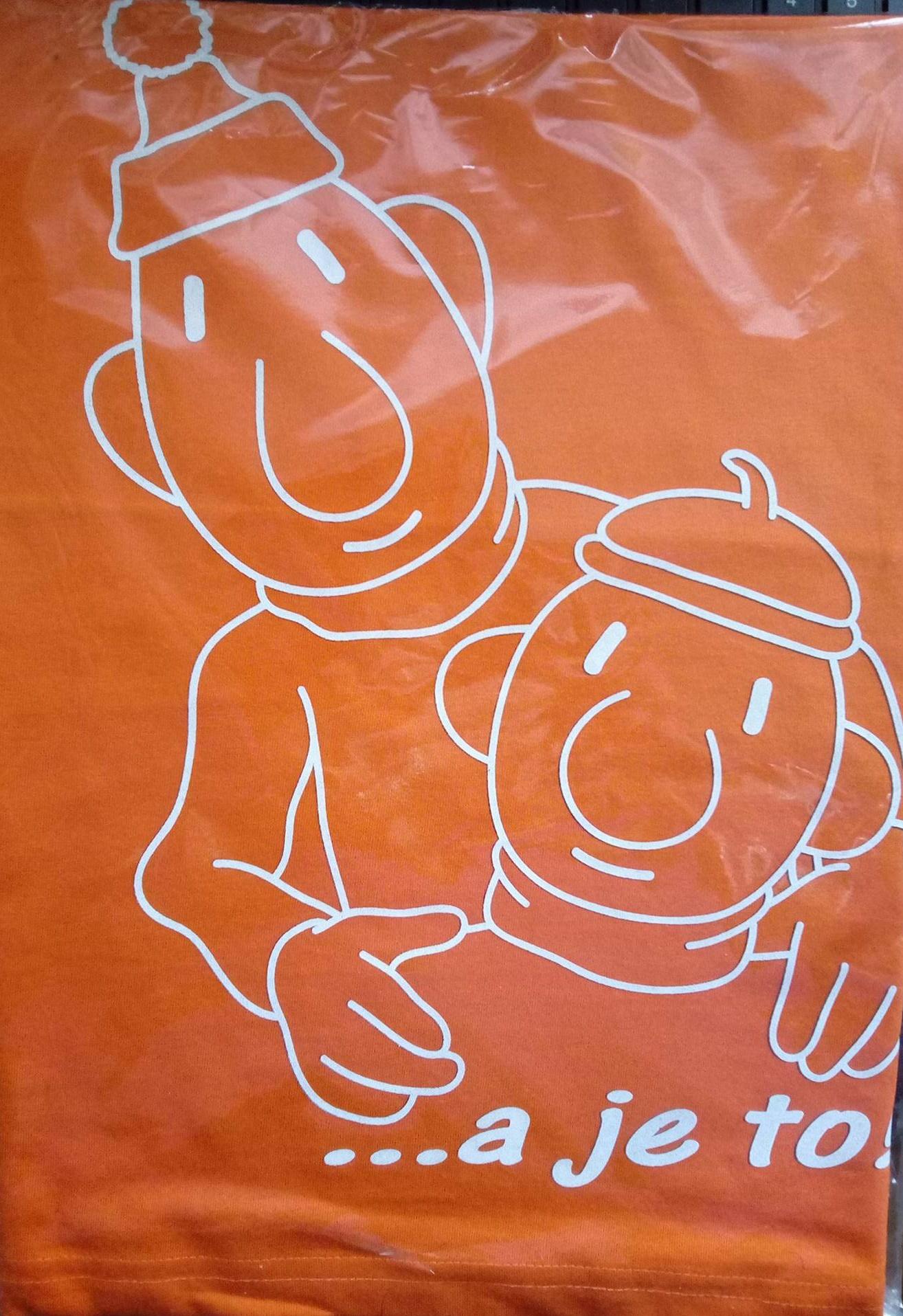aff37d3d44a5 Dětské tričko - Pat a Mat obrysy 122 oranžová