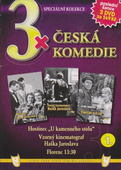 """3x česká komedie 1 (Hostinec """"U kamenného stolu"""" + Vzorný kinematograf Haška Jaroslava .."""