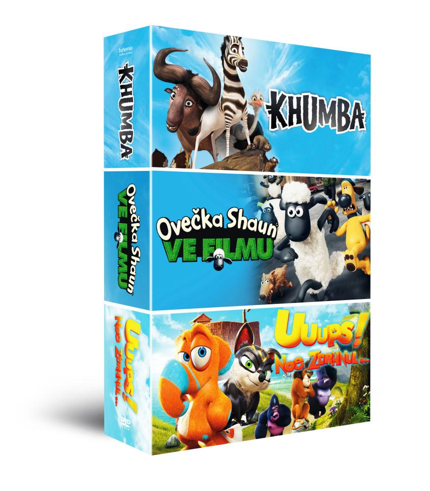 Animáky kolekce II. (3DVD): Ovečka Shaun + Khumba + Uuups! Noe zdrhnul…