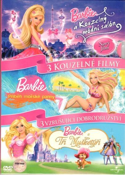 3 DVD Barbie Kouzelný módní & Příběh mořské & Tři mušketýři