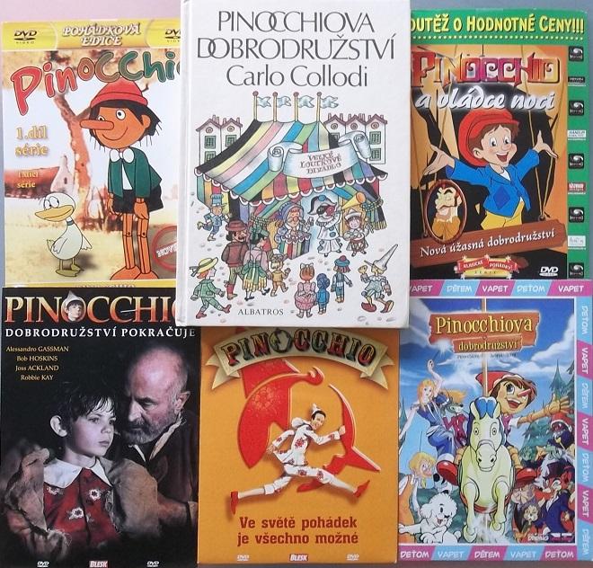 Pinocchiova dobrodružství - Carlo Collodi ( 1x kniha bazarová + 5x DVD )