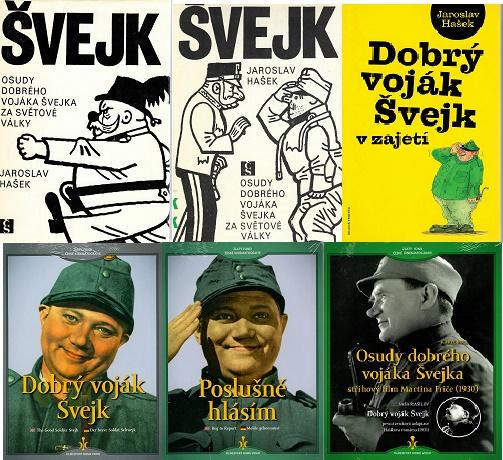 Osudy dobrého vojáka Švejka za světové války 1+2 a 3+4 - Jaroslav Hašek ( 3x kniha bazarová + 3x DVD )