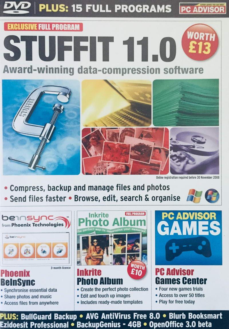 PC Advisor Issue 160 / November 2008 - Stuffit 11.0 - DVD-ROM /slim/