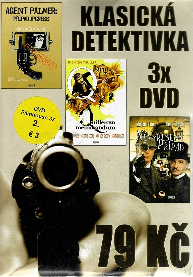3x DVD Klasická detektivka - Agent Palmer /Quillerovo memorandum / Nevyřešený případ ( pošetky ) DVD