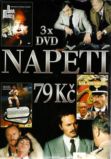 3x DVD Napětí - Dotek medůzy / Domino / Salamandr ( pošetky ) DVD
